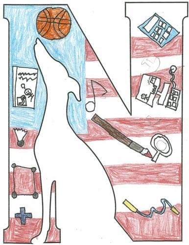 Logo with American Flag, basketball, computer, pencil, sports equipment