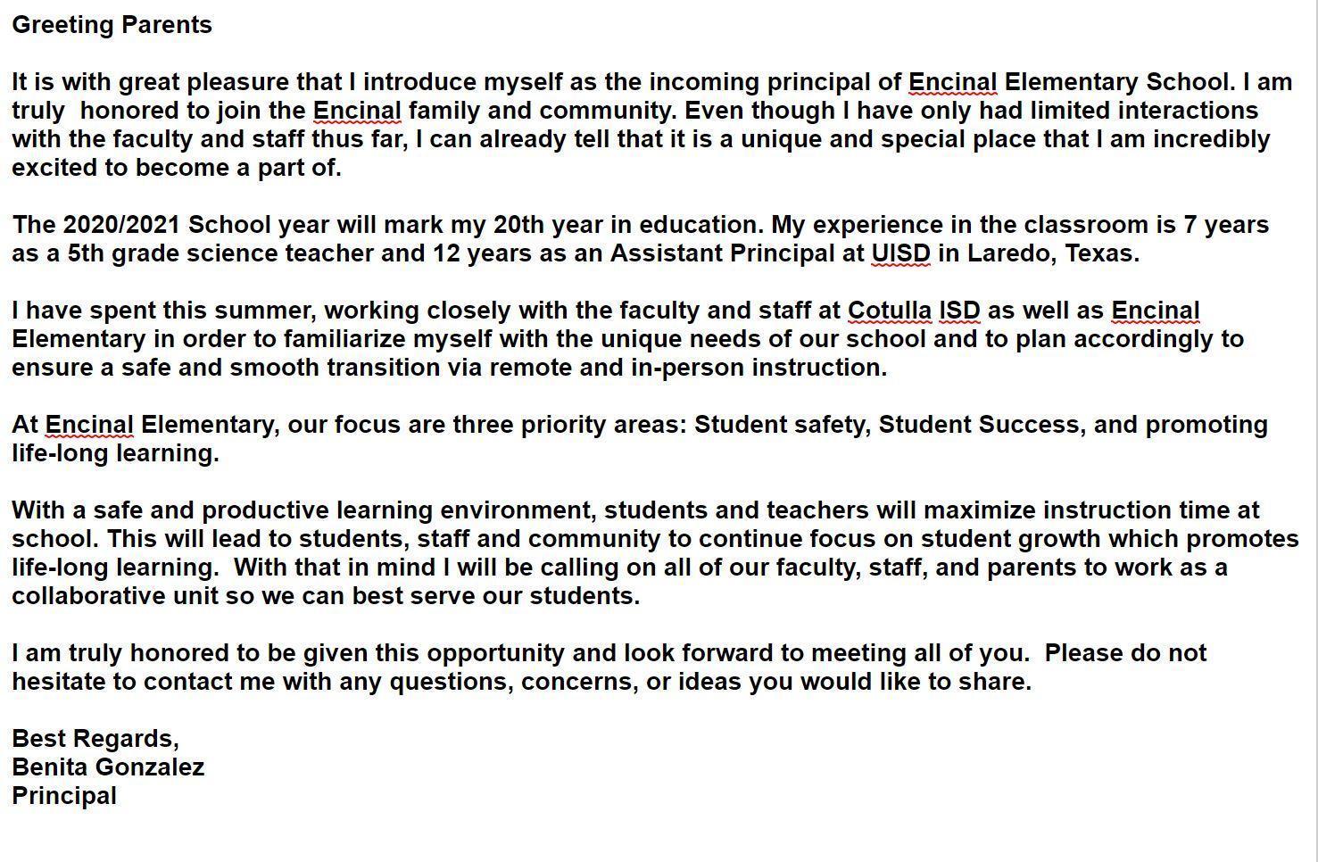 Principal Introduction Message
