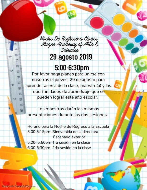 Back To School Night Flyer in Spanish