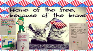 """""""Home of the free because of the brave"""" letter collage"""