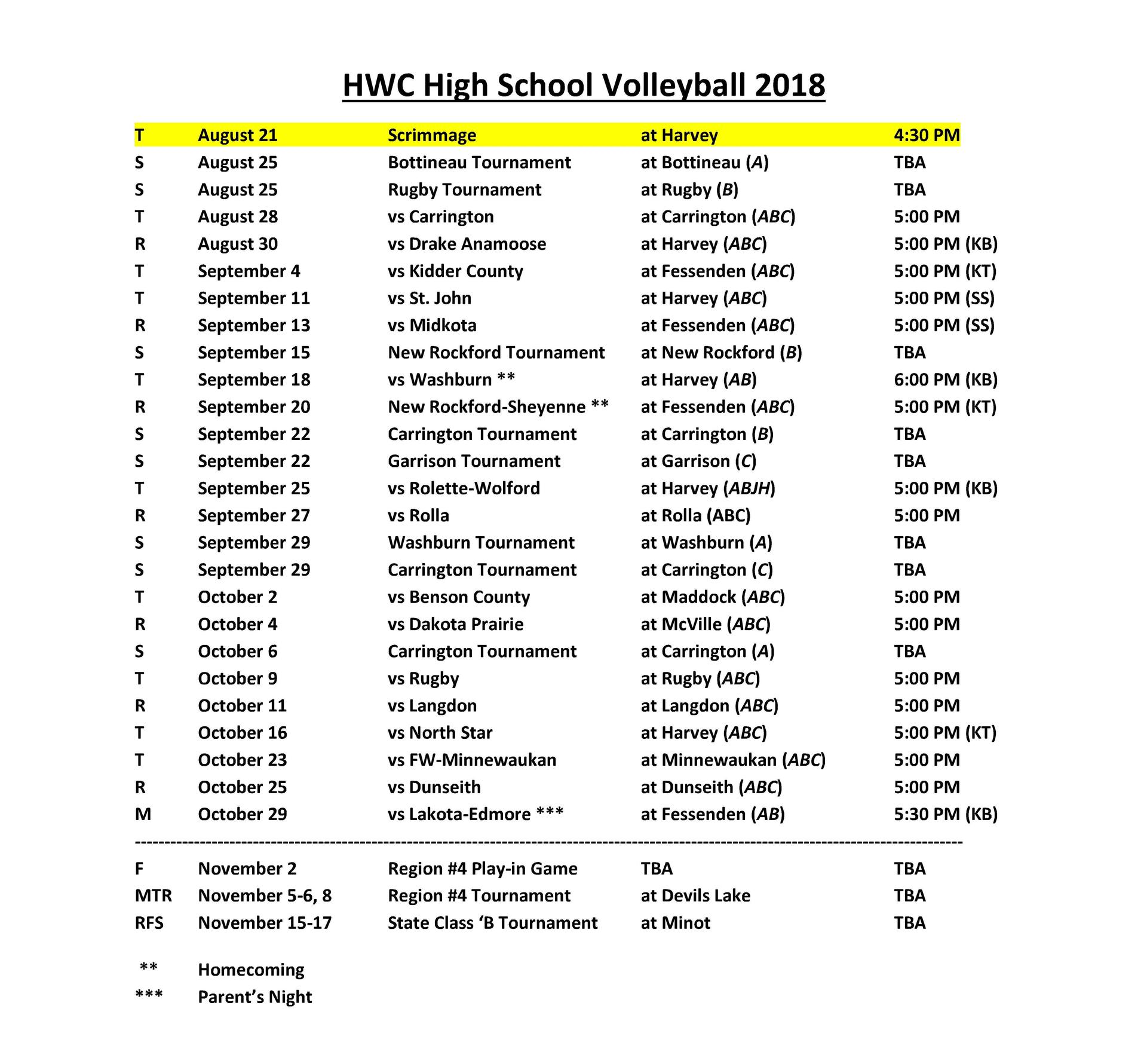 2018-2019 Volleyball Schedule