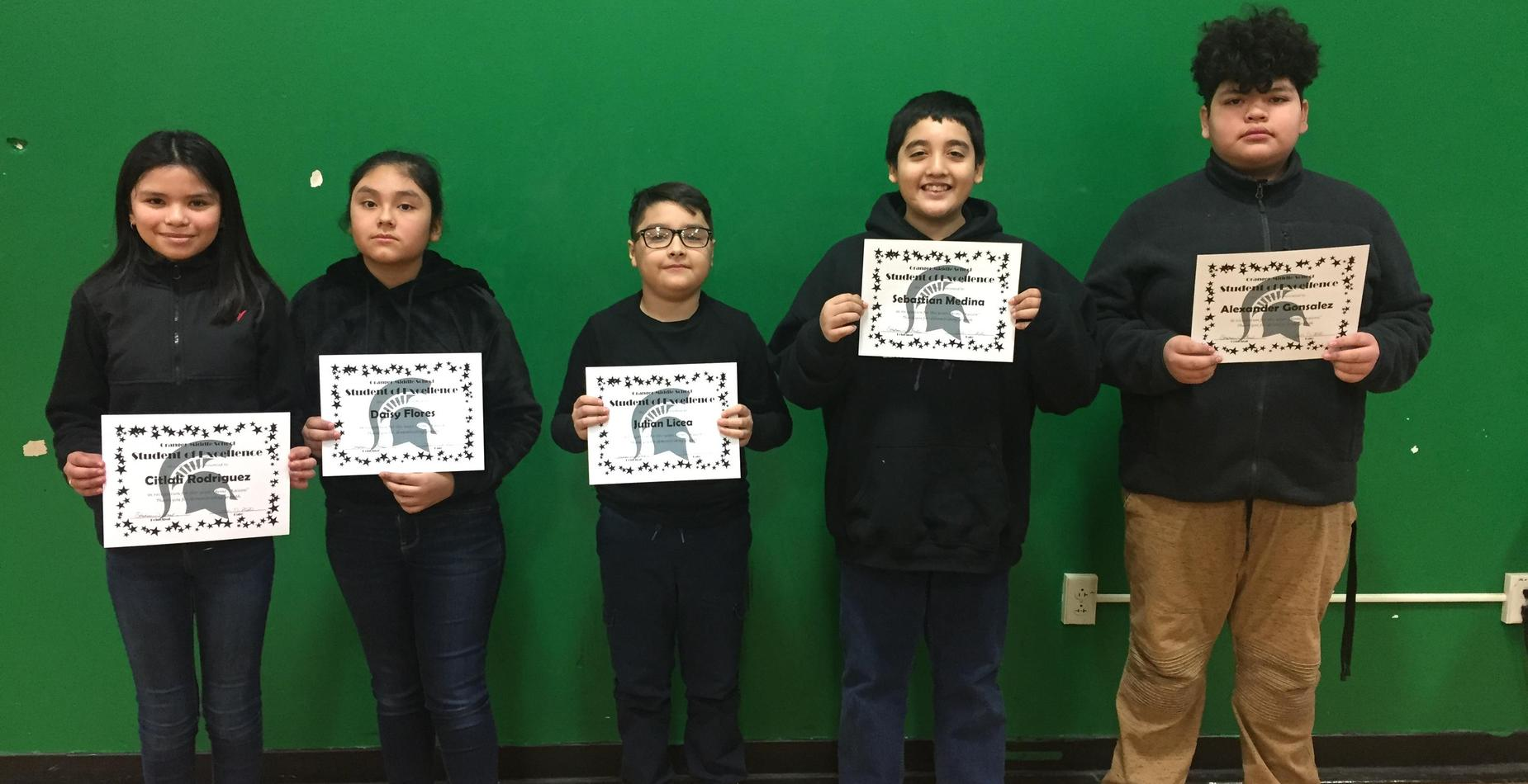 6th Grade Students of Excellence - November, December, and January