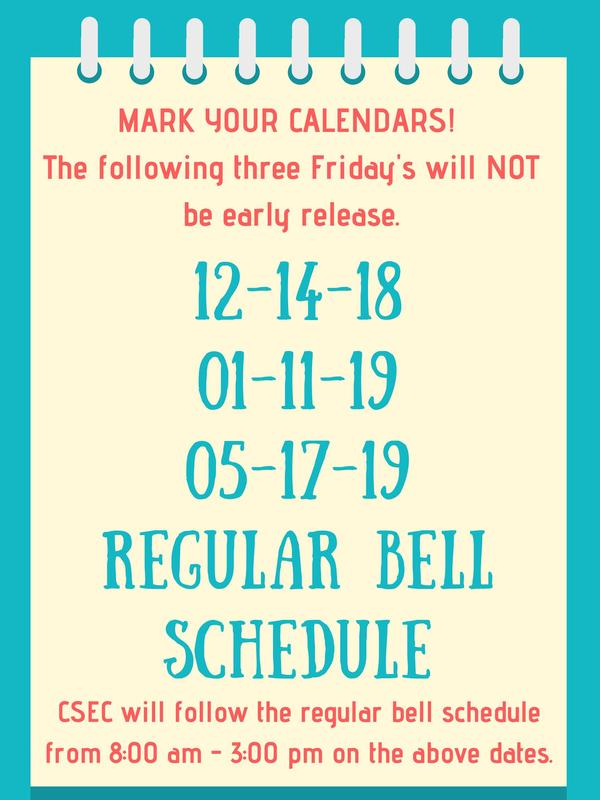 Poster with the dates that we will not have early release as mentioned in this announcement.