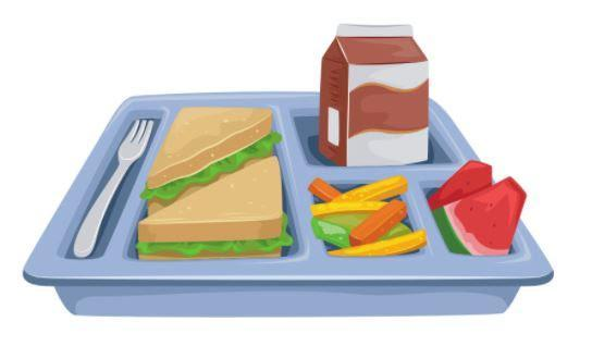 Cafeteria tray with a fork, sandwich, salad, and fruit.