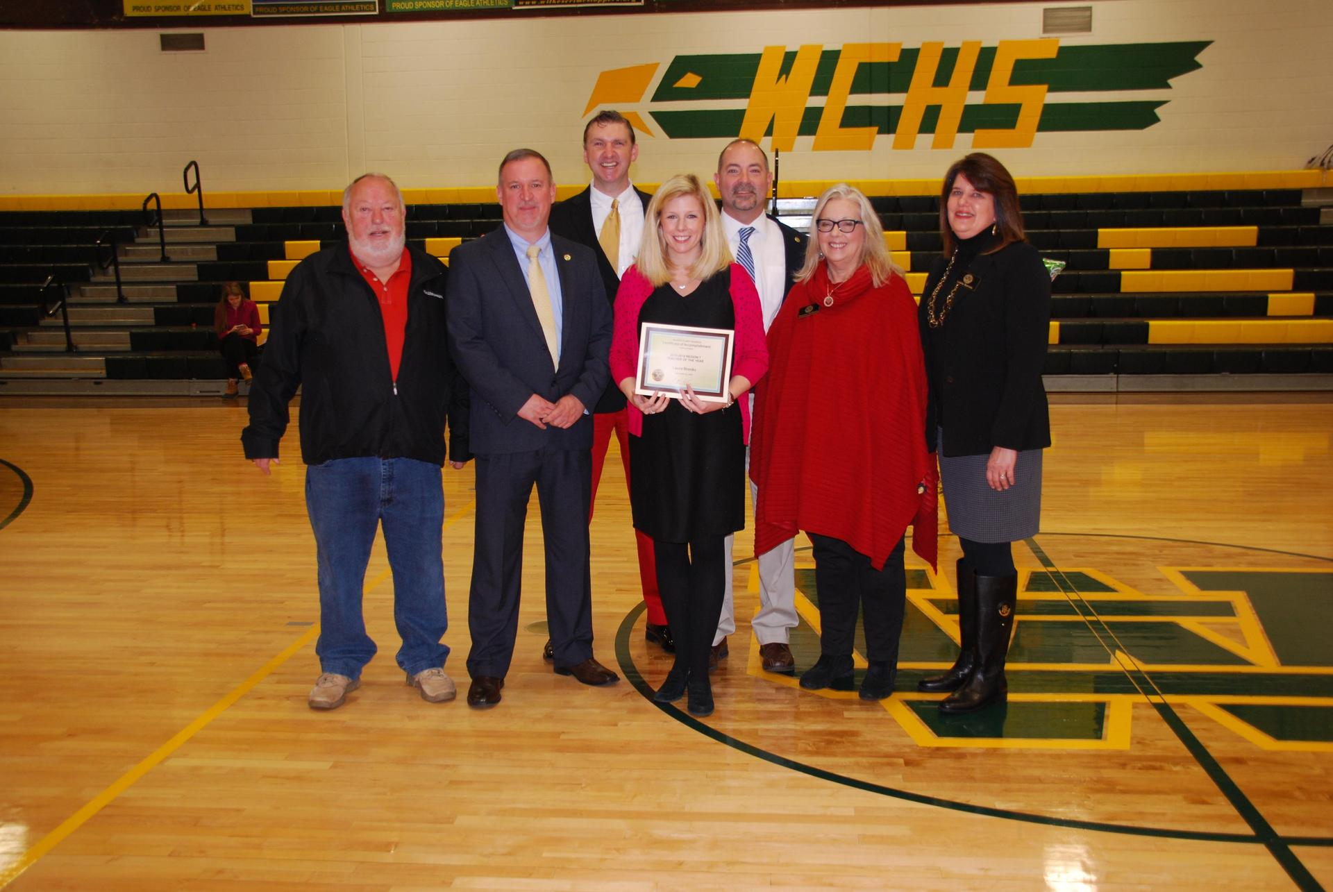 Northwest Regional Teacher of the Year, Laura Brooks, poses with Superintendent Mark Byrd, School Board Members, and the NC State Teacher of the Year