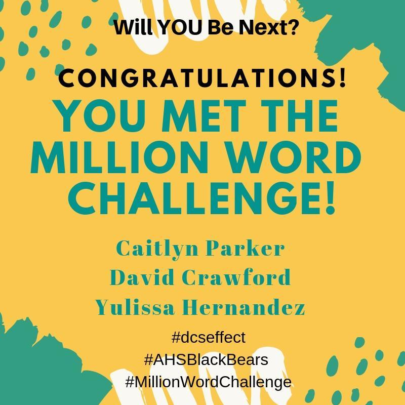 flyer announcing readers meeting challenge of a million words
