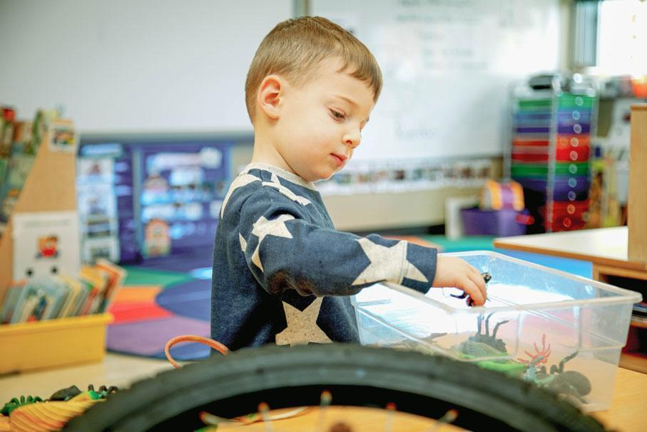 A preschooler explores the textures and movements of an animal in an inquiry-based STEM unit