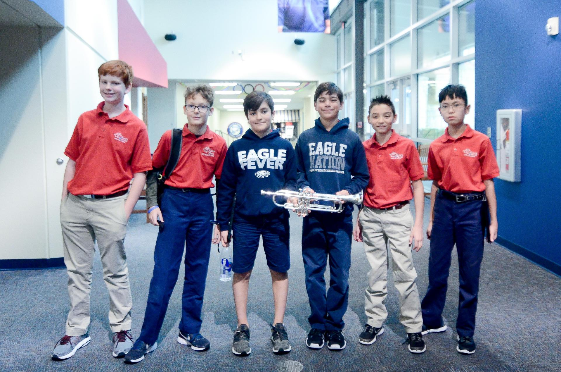 Group of boys in Grade 5 Band
