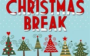 Christmas Trees and text saying Christmas Break
