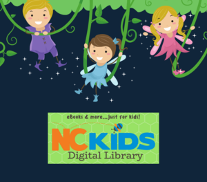 Kids swinging from vines. NC Digital kids library logo included.