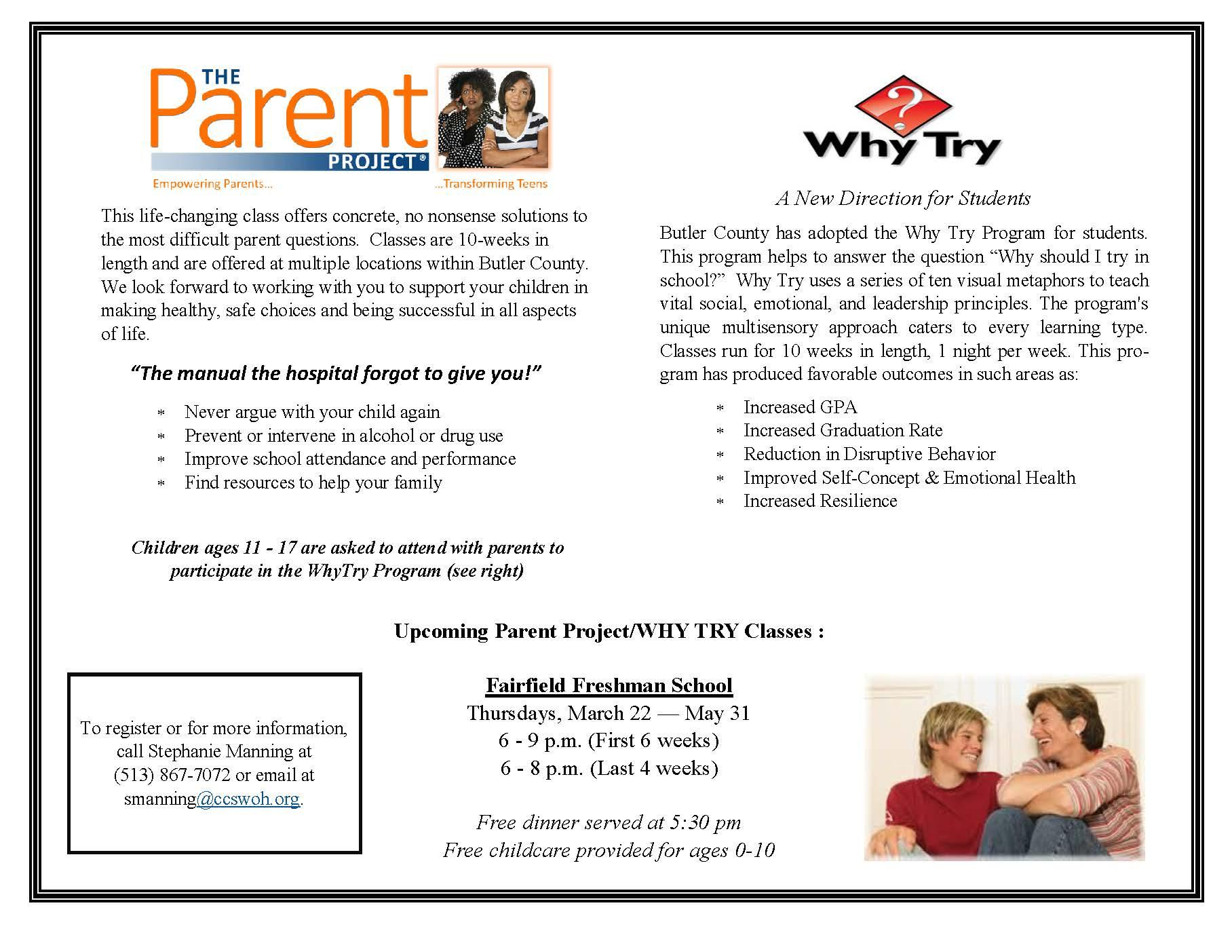 Image of the Parent Project flyer, which is also listed at the bottom of this web page as a pdf file.