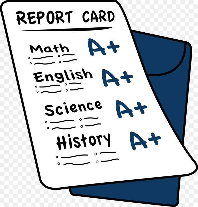 Cartoon drawing of report card with subjects and grades