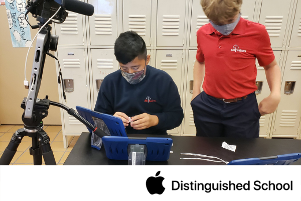 Students using iPad in Science Lab with home learner.