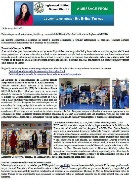 Comunicación a Padres, Familias, y Comunidad de IUSD - 5-14-2021 Featured Photo