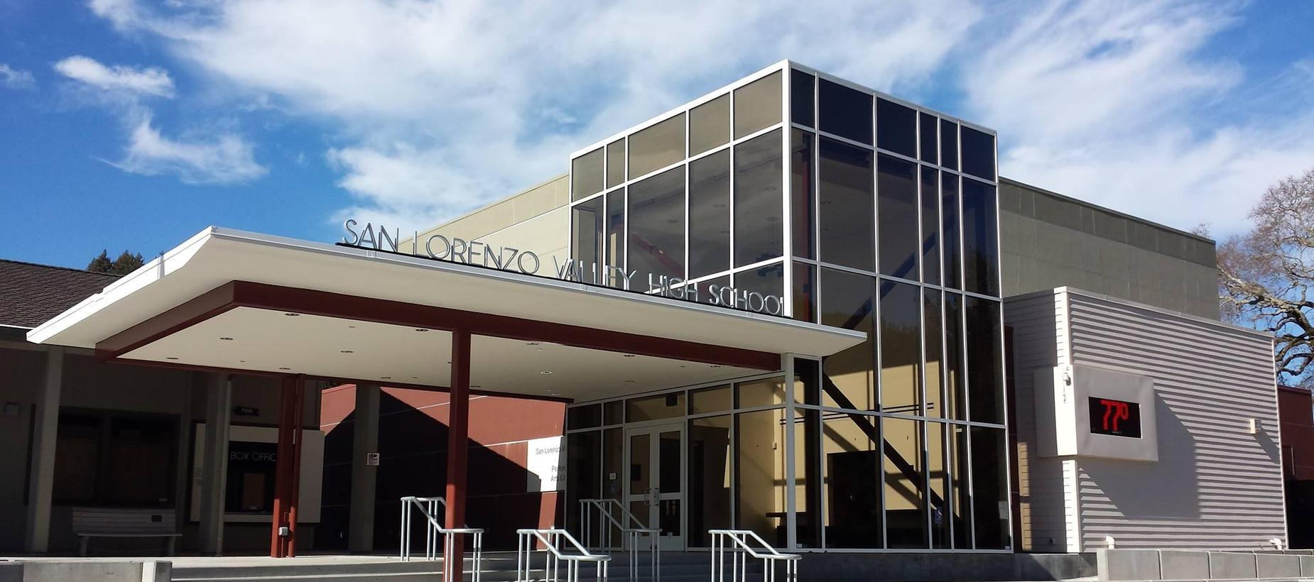 Picture of the SLV Performing Arts Center / entrance to the SLVHS campus