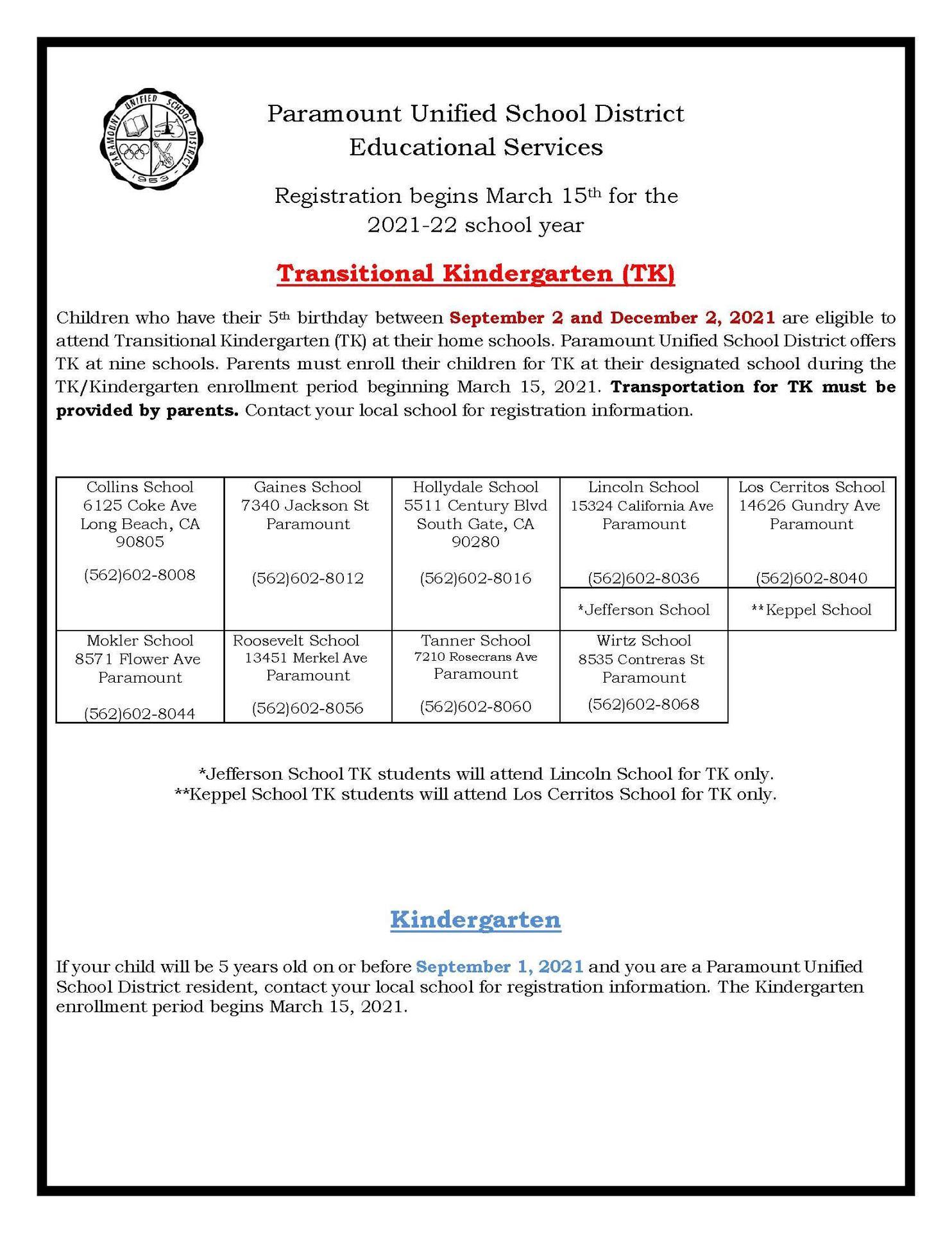 TK-K Registration Flyer