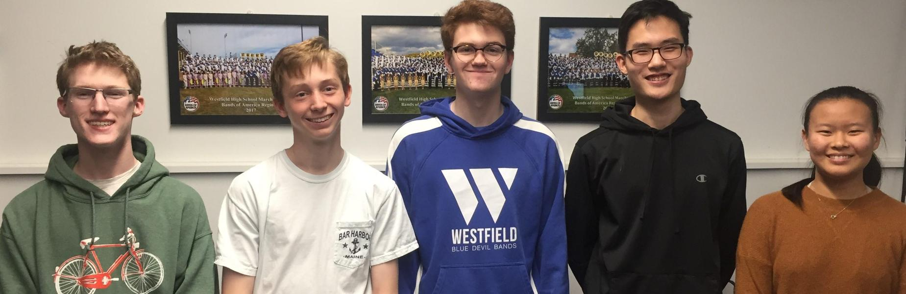 :   (L-R) Westfield High School student musicians Max Tennant, Conor Daly, Patrick Gallagher, Alex Cha, and Aprina Wang will perform with the New Jersey Music Educators Association (NJMEA) All-State Band at NJPAC on Saturday, February 22.