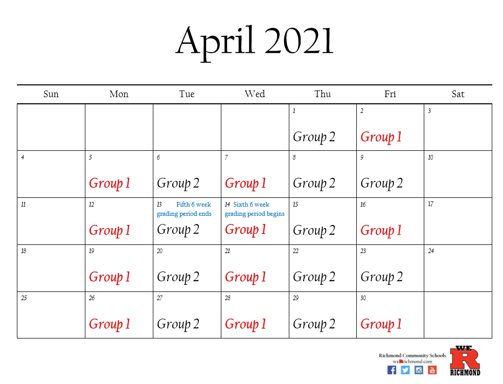 April 2021 Hybrid Calendar