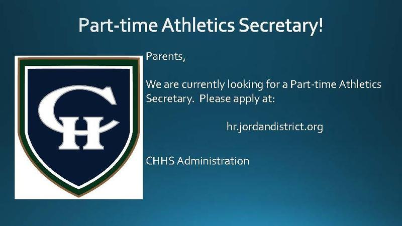 Athletics Secretary Position available