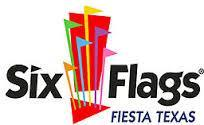Six Flags theme park with flags