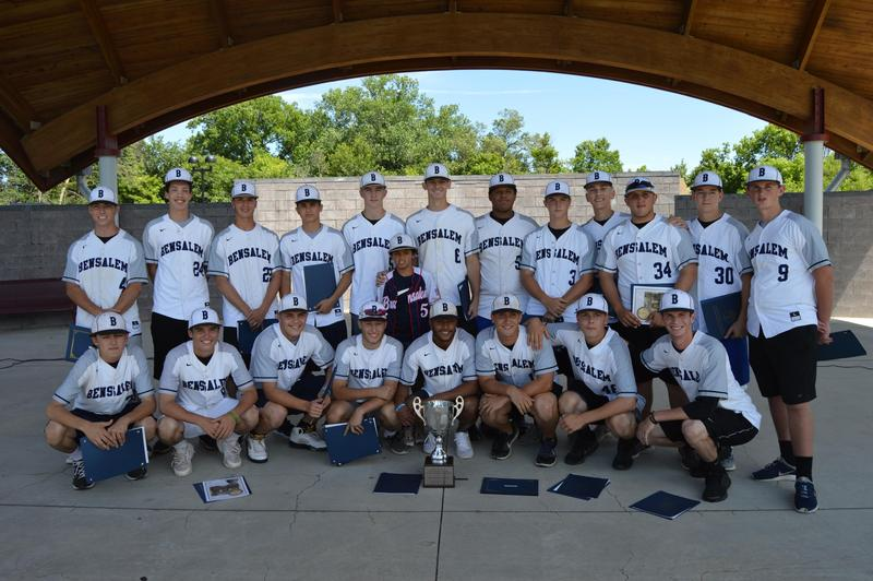 BHS Owls Baseball team, coaches, school district administrators, and Bensalem township officials pose with trophy