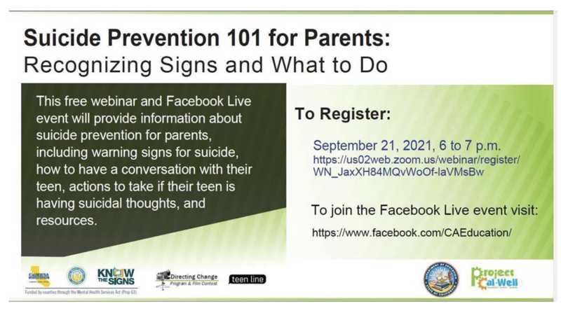 Suicide Prevention Webinar for Parents: September 21st Featured Photo