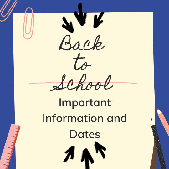 Back to School Important Dates and Information Flyer