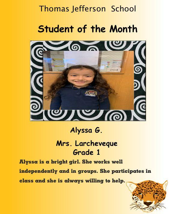 Alyssa G.  Student of the Month December