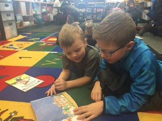 Book buddies with Kindergarteners