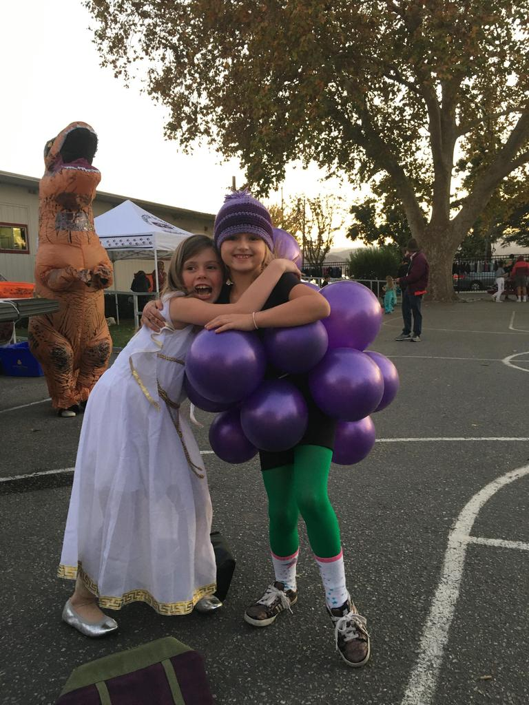 kids dressed as bunch of grapes and greek princess