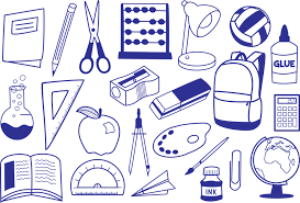 images of school supplies in the color blue