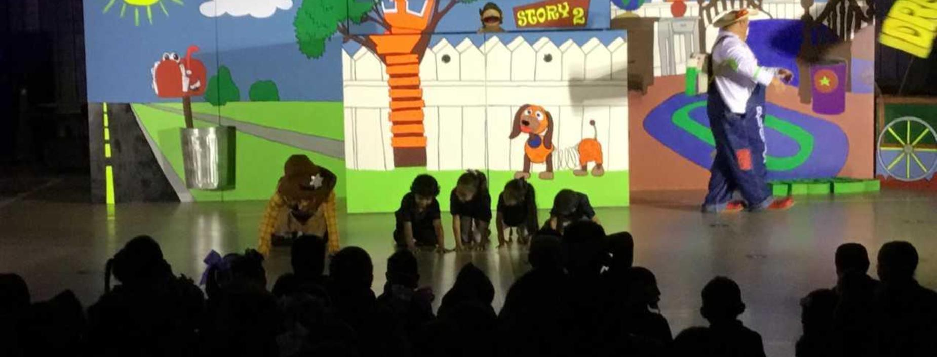 Image of students participating in fire prevention presentation.