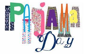 pajama day written in clothes