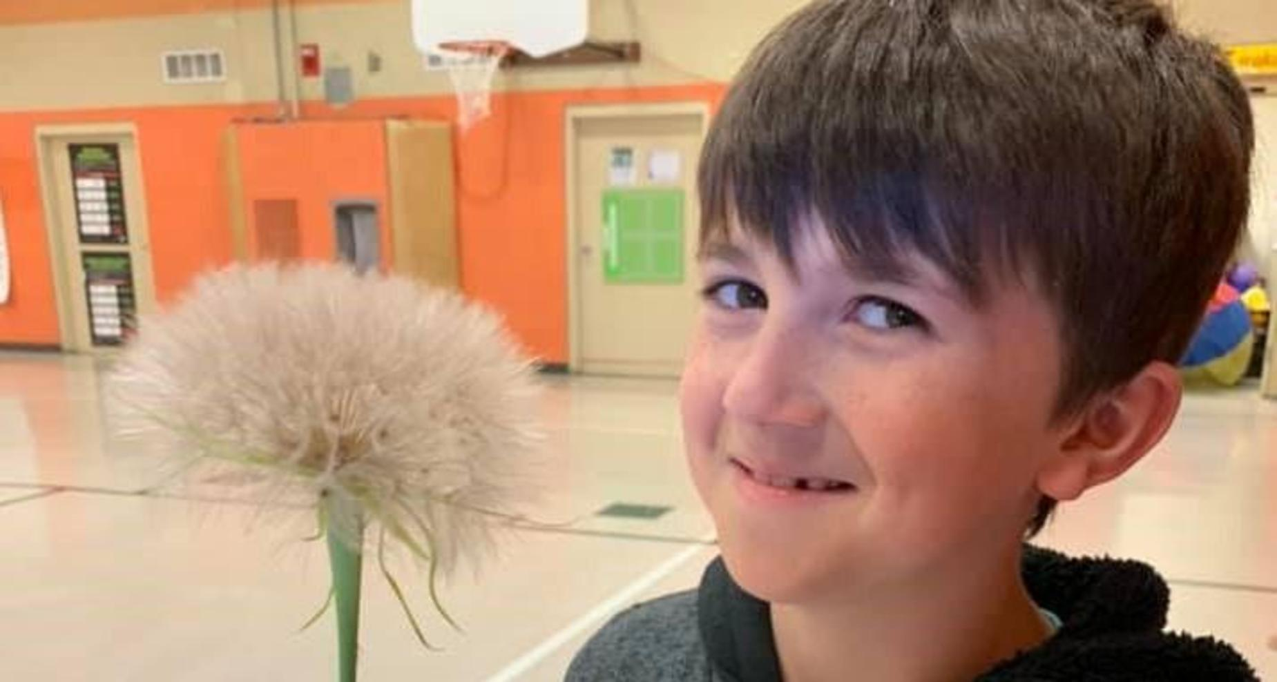 Student w Dandelion Seed Flower