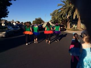 students walking in a parade