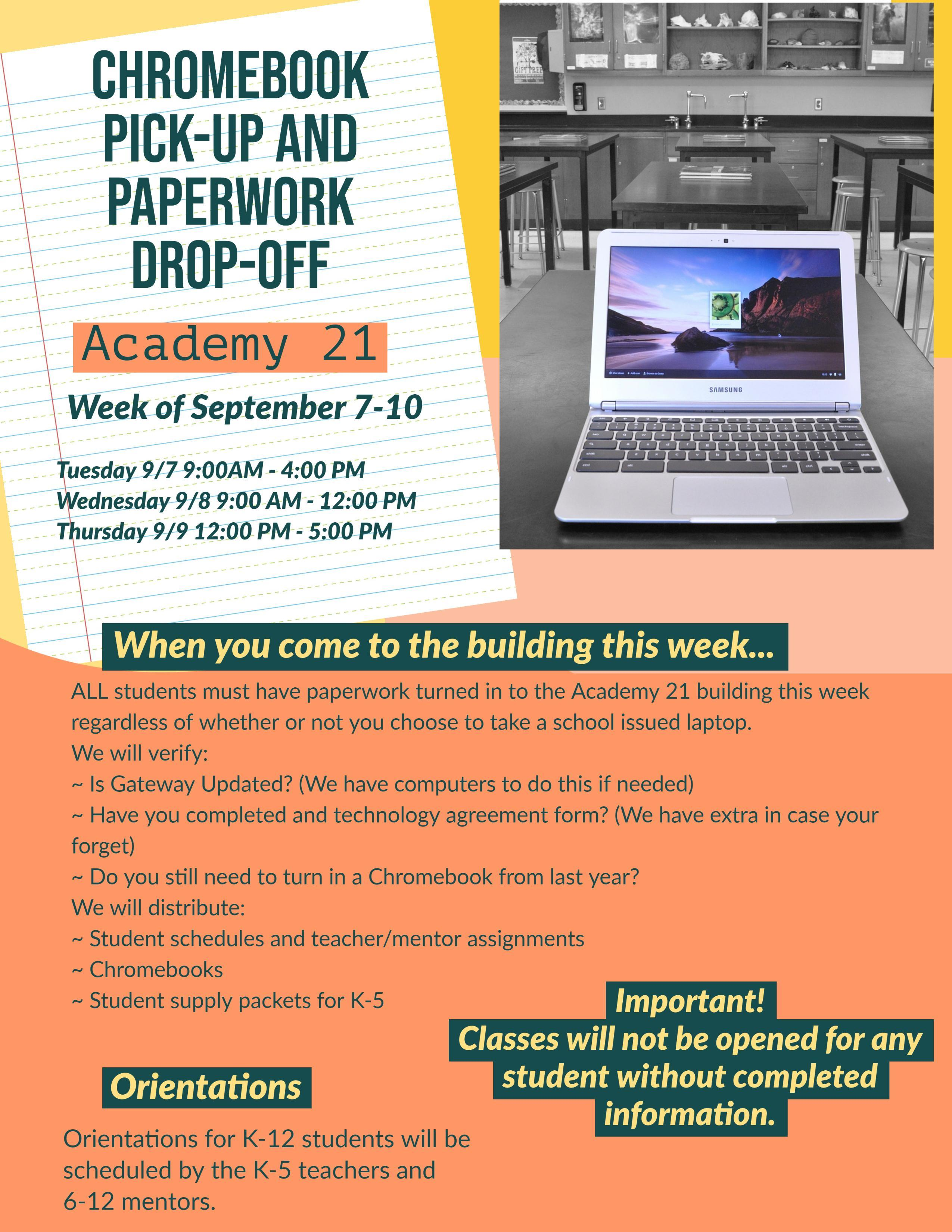 Chromebook pick up and paperwork drop off