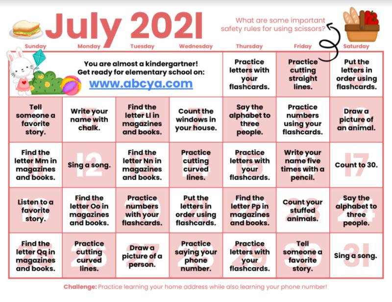 July Kindergarten Readiness Calendar Featured Photo