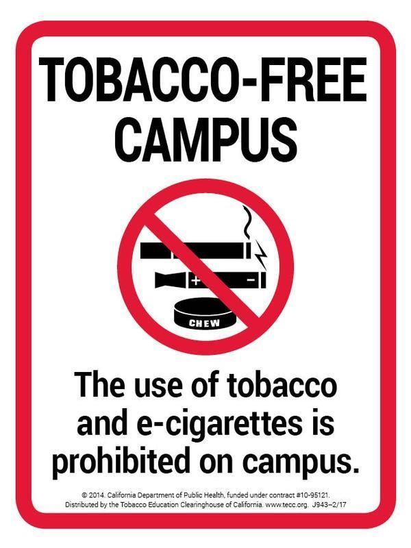 no tobacco use on campus sign