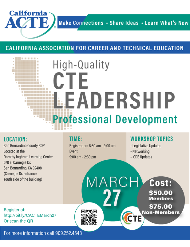 California ACTE Professional Development Day, March 27, 2019 Thumbnail Image