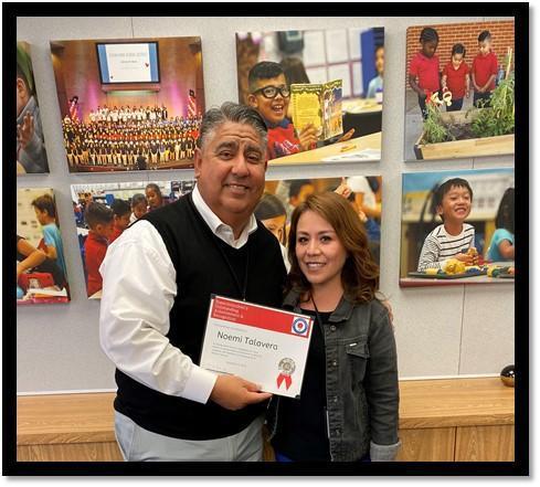 Superintendent Dr. Ramon Miramontes with Noemi Talavera