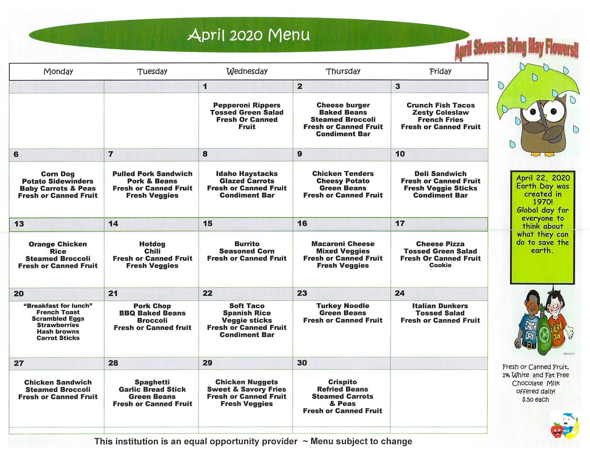 April 2020 Elementary Lunch Menu English