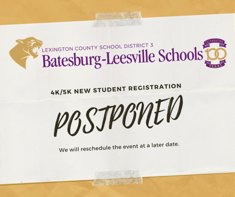 4K/5K New Student Registration Postponed