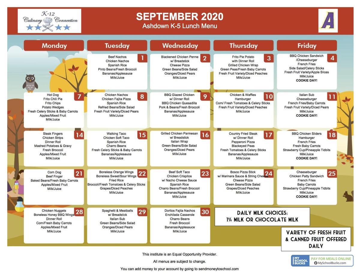 K-5 September 2020 Lunch