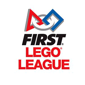 First Lego League logo featuring a triangle and square connected by a circle