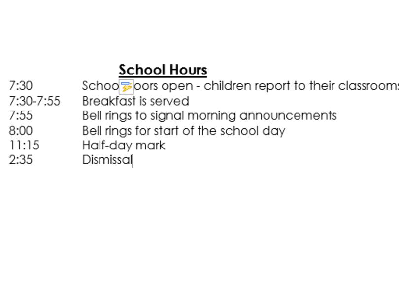 School Hours/Bell Schedule