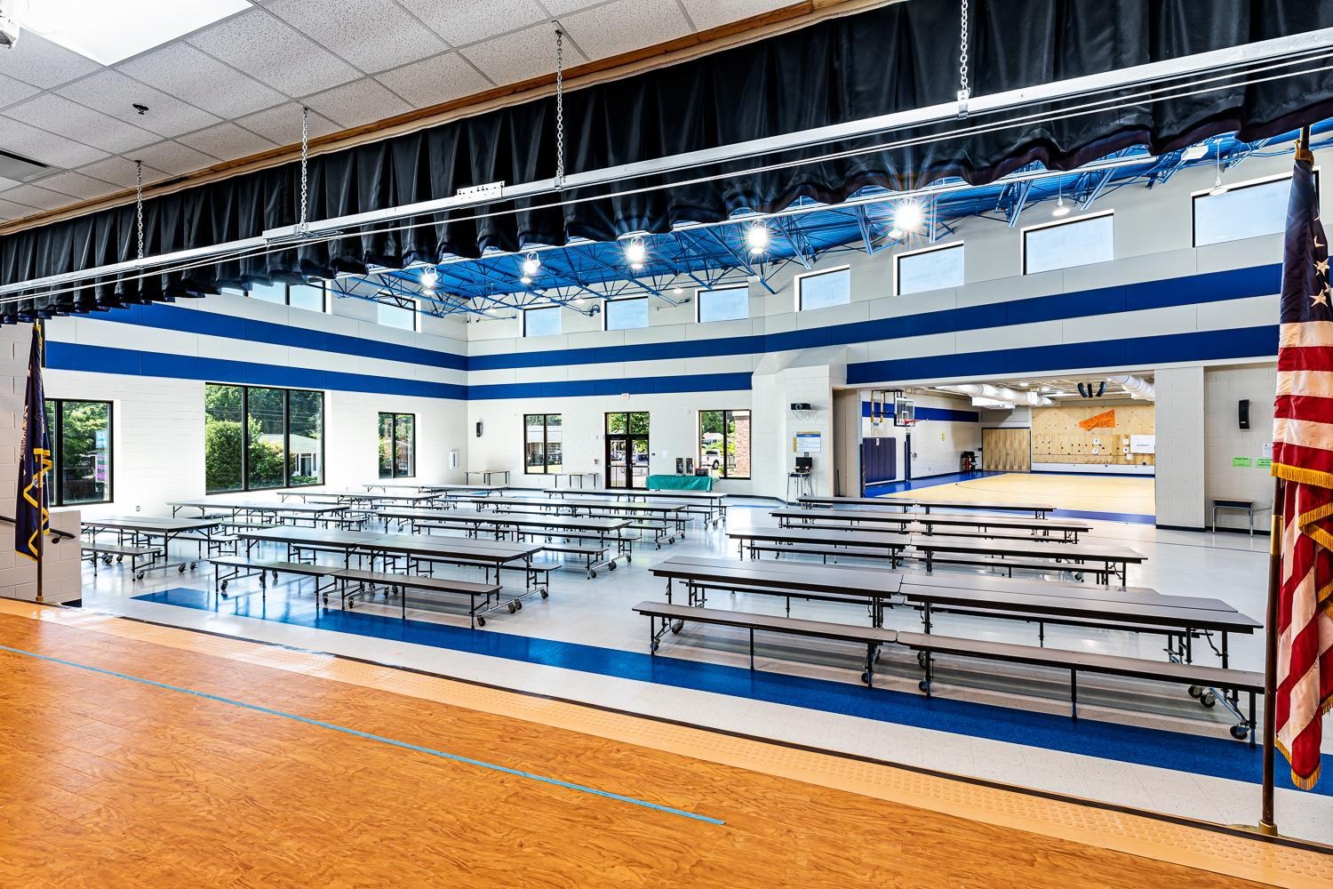 View of New Cafetorium and Gym; photo taken from the stage