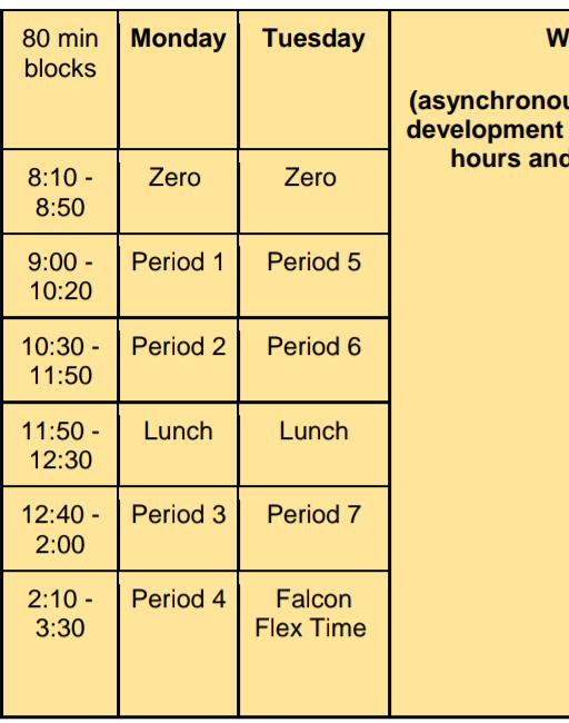 Bell schedule screenshot