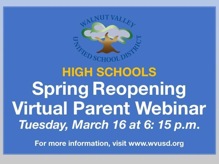HIGH SCHOOLS: Spring Reopening Virtual Parent Webinar Featured Photo