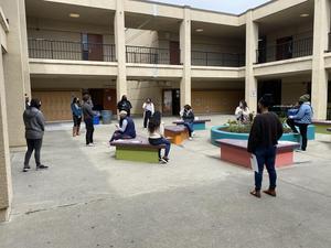 Teachers outside
