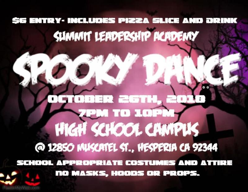 Summit Leadership Academy Spooky Dance - High School Students 9th - 12th October 26th 7PM - 10PM Thumbnail Image